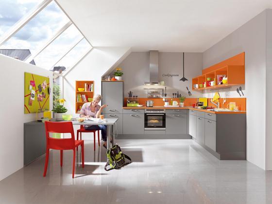 Kuchynská Linka Las Vegas - oranžová/sivá, Moderný, kompozitné drevo