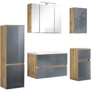 Badmöbel-Set 5-Tlg. inkl. Led Helsinki, Grau/Eiche - Eichefarben/Weiß, KONVENTIONELL, Glas/Holzwerkstoff (160/200/47cm) - MID.YOU