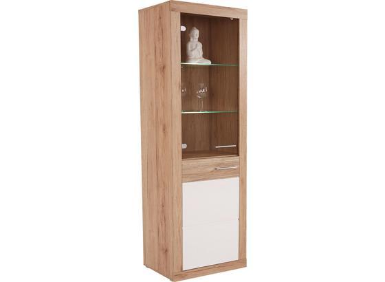 Vitrína Malta - farby dubu/biela, Moderný, kompozitné drevo/sklo (63,9/196,6/34,9cm)