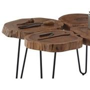 Couchtisch Echtholzplatte Cole Mini, Akazie/Schwarz - Schwarz/Akaziefarben, Natur, Holz/Metall (78/56/72cm) - MID.YOU