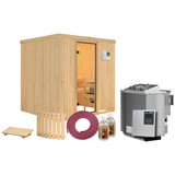 Bio-Sauna Cassis mit externer Steuerung (Kombi-Sauna) - Naturfarben, MODERN, Holz (196/198/196cm) - Karibu
