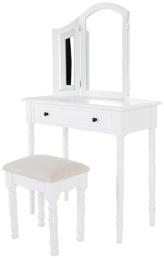 Schminktisch Silvia 80 cm Weiß - Weiß, ROMANTIK / LANDHAUS, Glas/Holz (80/136/40cm)