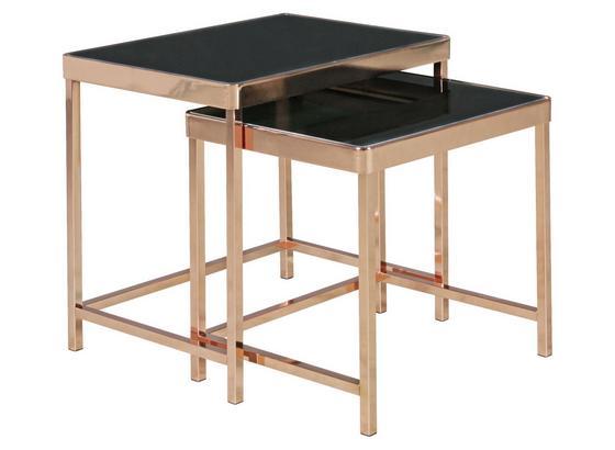 Beistelltisch 2er-Set Glas Schwarz + Kupferfarben - Schwarz/Kupferfarben, Design, Glas/Metall (48/46/36cm) - Livetastic