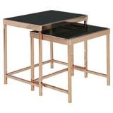 Satztisch 2-teilig Schwarz/kupferfarben - Schwarz/Kupferfarben, Design, Glas/Metall (48/46/36cm) - Carryhome