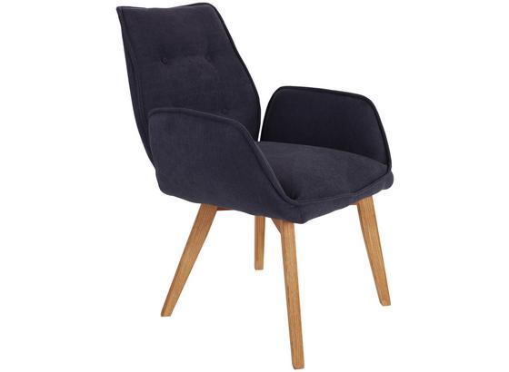 Armlehnstuhl Bettina Blaugrau Gepolstert Beine Echtholz - Blau/Eichefarben, MODERN, Holz/Textil (60/90/67cm) - Ombra