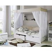 Himmelbett Lino 90x200 cm  Weiß/ Beige - Beige/Weiß, MODERN, Holz (90/200cm) - Livetastic