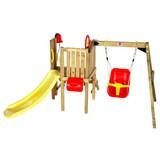Spielturm Plum mit Babyschaukel - Gelb/Rot, MODERN, Holz/Kunststoff (244/162/123cm)
