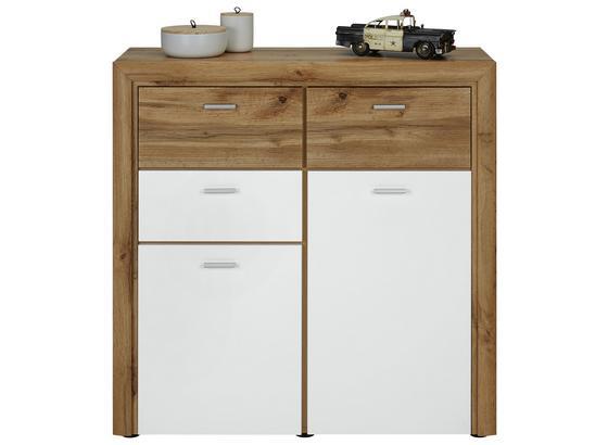 Komoda Ronny - bílá/barvy dubu, Moderní, kompozitní dřevo (100/102/38cm) - Mömax modern living