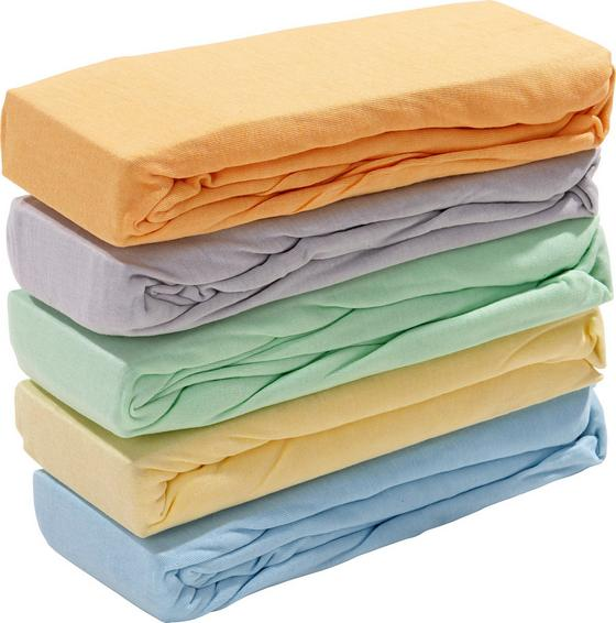 Spannleintuch Sianna 100x200 cm - Blau/Gelb, Textil - Ombra