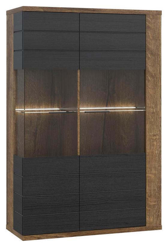 Vitrína Lacjum - barvy dubu, Konvenční, kov/dřevěný materiál (101,8/155,5/41,6cm)