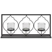 Teelichthalter Aleydis - Klar/Schwarz, Basics, Glas/Metall (41,5/19,5/9,5cm) - Luca Bessoni