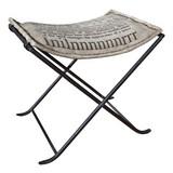 Hocker Kalinga B: 50 cm - Schwarz/Grau, Basics, Textil/Metall (50/47/40cm) - MID.YOU