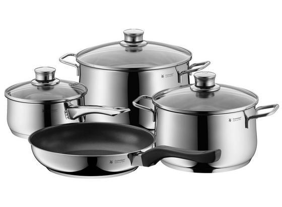 WMF Kochtopfset Diadem Plus 7-teilig - Silberfarben, KONVENTIONELL, Glas/Metall - WMF