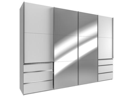 Schwebetürenschrank Level 36a B:300cm Weiß/spiegel - Weiß, MODERN, Holzwerkstoff (300/216/65cm)