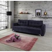 Sofa mit Schlaffunktion Stella Webstoff - Silberfarben/Dunkelblau, Basics, Kunststoff (226/94/102cm)