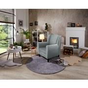 Ohrensessel Asti B: 82cm Pastellblue - Wengefarben/Pastellblau, MODERN, Holz/Textil (82/100/84cm) - Ombra