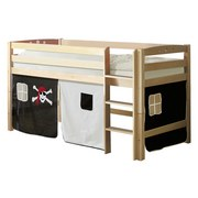 Hochbett Timmy R 90x200 cm Schwarz/Weiß - Schwarz/Weiß, Natur, Holz (90/200cm) - MID.YOU