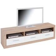 TV-Lowboard Malta B: 185 cm San Remo Eiche, Weiß - Eichefarben/Schwarz, MODERN, Holz (185/50/42cm)