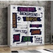 Schwebetürenschrank Plakato Words 170,3 cm - Multicolor/Weiß, MODERN, Holzwerkstoff/Kunststoff (170,3/190,5/61,2cm)