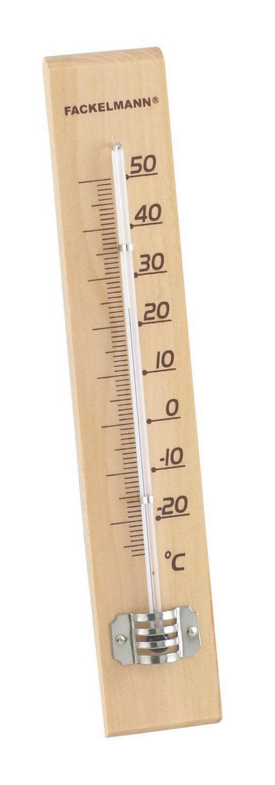 Hőmérő 18cm - barna, konvencionális, műanyag/üveg (22cm)