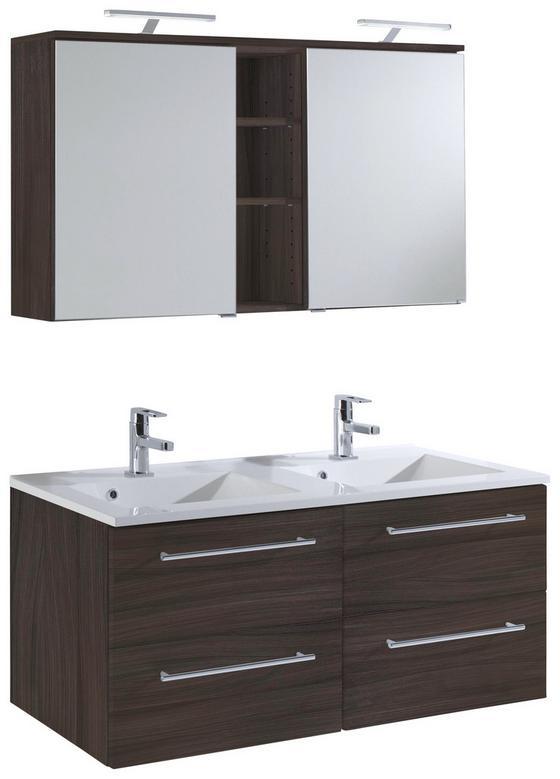Badezimmer Mailand 120 cm Eiche Dekor - Eichefarben/Weiß, MODERN, Holzwerkstoff/Kunststoff (120/47cm)