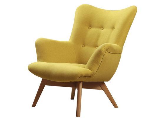 Křeslo Safin - žlutá, Moderní, textil (89/97/80cm)