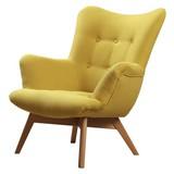 Křeslo Safin - žlutá, Moderní, textilie (89/97/80cm)