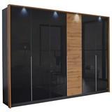 Drehtürenschrank mit Glas + Led 275cm Bellezza, Grau/Eiche - Eichefarben/Grau, KONVENTIONELL, Glas/Holzwerkstoff (275/212/58cm) - MID.YOU