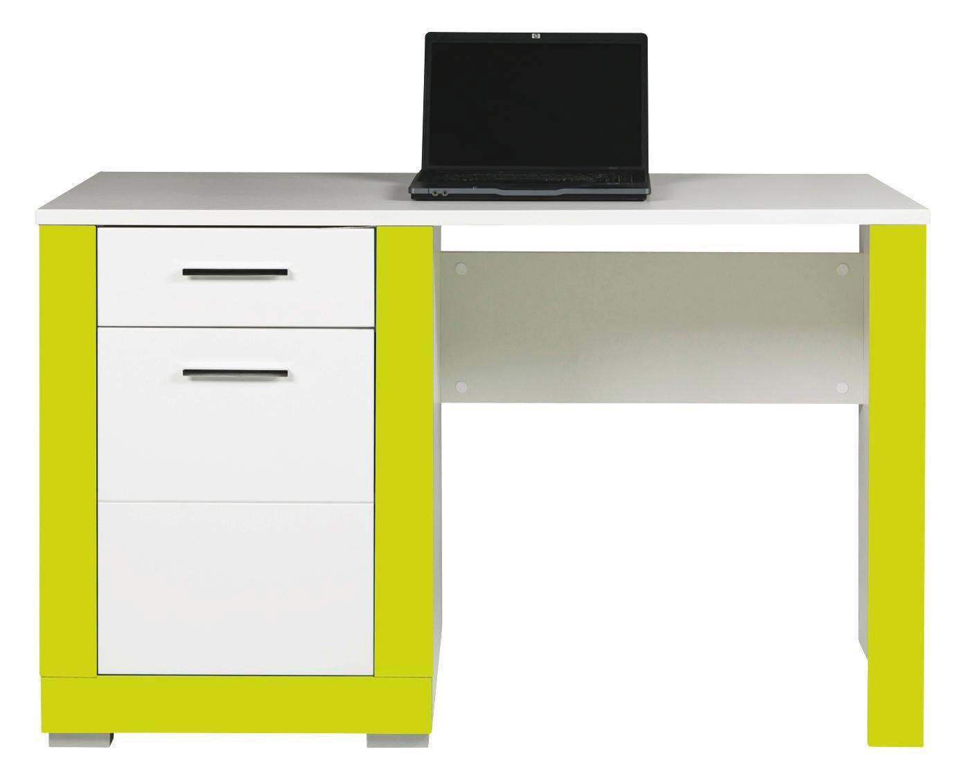 Psací Stůl Derby - bílá/zelená, Moderní, dřevěný materiál (128/77,5/67cm)