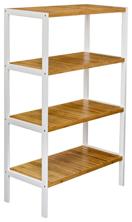 Regál Bambu - bílá/hnědá, Moderní, dřevo/kompozitní dřevo (70/110/33cm)