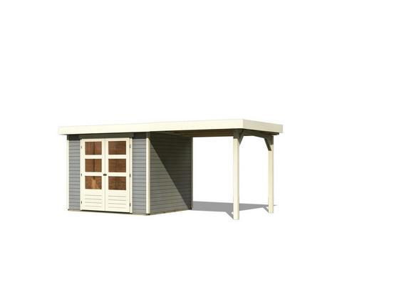Gartenhaus mit Anbaudach Hellgrau 482x211x217cm - Hellgrau, Holz (482/211/217cm) - Karibu