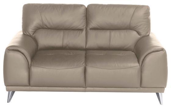 Zweisitzer-Sofa Frisco - Sandfarben/Chromfarben, MODERN, Textil (166/92/96cm)
