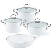 Kochtopfset 4-Er Set Weiß - Weiß, Basics, Glas/Metall (48,5/28,5/24cm) - Riess