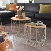 Couchtisch Rund 2er-Set Holz + Eisen, Eichefarben/Weiß - Eichefarben/Weiß, MODERN, Holzwerkstoff/Metall (50/50/40cm) - MID.YOU