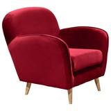 Sessel Milo Es B: ca. 82 cm - Rot/Kieferfarben, Trend, Holzwerkstoff/Textil (82/88/92cm) - Carryhome