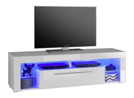 TV-Lowboard Goal B: 153 cm Weiß - Weiß, Design, Glas/Holzwerkstoff (153/44/44cm) - MID.YOU