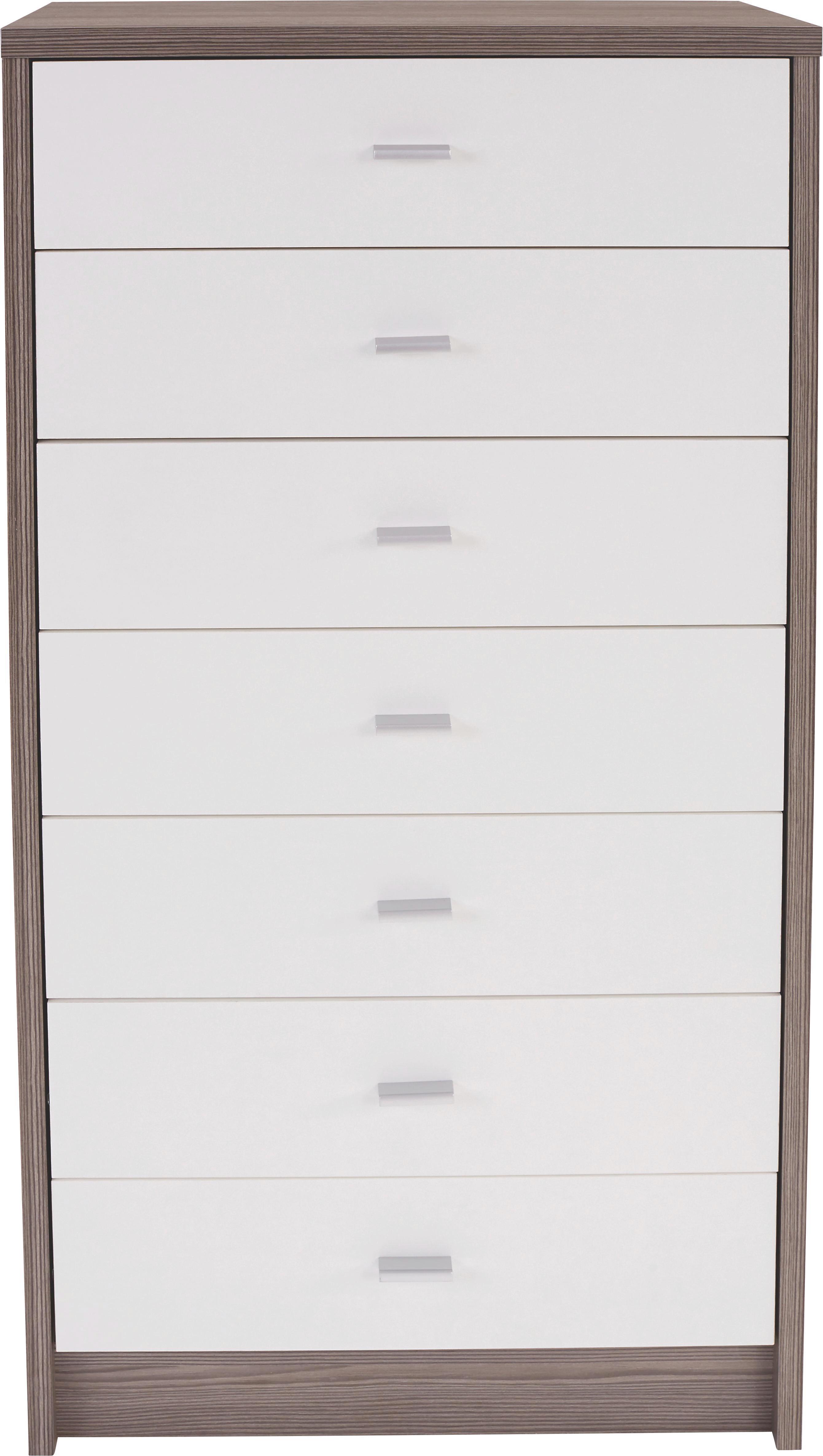 Komód 4-you - sötétbarna/fehér, modern, faanyagok (50/111,4/34,6cm)