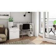Computertisch mit Stauraum B 140cm H 89cm Larry, Weiß - Weiß, MODERN, Holzwerkstoff (140/89/55cm) - MID.YOU