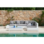 Loungegarnitur Rimini - Klar/Weiß, MODERN, Glas/Kunststoff (295/215cm) - LUCA BESSONI