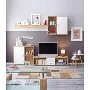 Obývací Stěna Viva 21 - bílá/Sonoma dub, Konvenční, dřevo/sklo (218/190/42cm) - Based