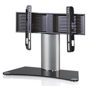 TV-rack Windoxa Mini B: 70 cm - Silberfarben/Schwarz, KONVENTIONELL, Glas/Metall (70/52/30cm)