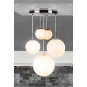 Hängeleuchte Balla H: 90 cm 5-Flammig mit Opalglas-Kugeln - Opal/Nickelfarben, Basics, Glas/Metall (50/90cm)