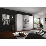 Schwebetürenschrank Belluno B:271cm Stone/Weiß/spiegel - Weiß/Grau, MODERN, Holzwerkstoff (271/210/62cm)