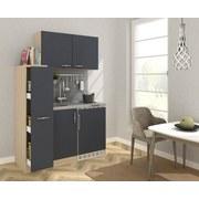 Miniküche B: 130 cm Grau/Eiche - Eichefarben/Grau, MODERN, Holzwerkstoff/Metall (130cm) - MID.YOU