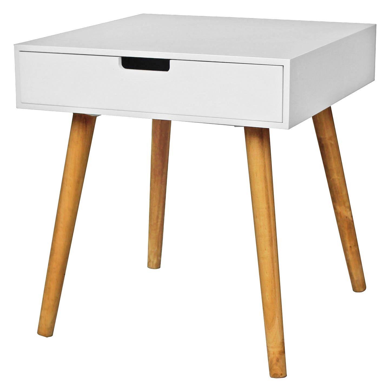 Beistelltisch Alina - Eichefarben/Weiß, MODERN, Holzwerkstoff (45/49/45cm)