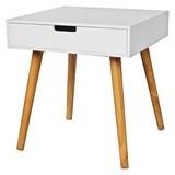 Beistelltisch mit Schublade Alina, Weiß + Eiche Dekor - Eichefarben/Weiß, MODERN, Holzwerkstoff (45/49/45cm)