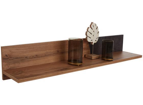 Polica V Tvare L Venedig - farby dubu/tmavosivá, Moderný, kompozitné drevo (140/23/22cm)
