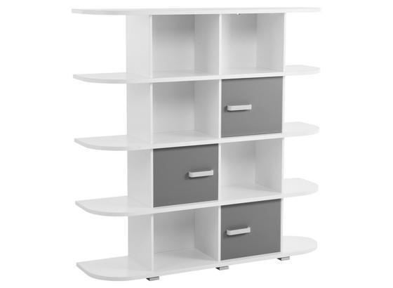 Regal Yoris B: 141,6 cm Grau/Weiß - Weiß/Grau, Design, Holzwerkstoff (141,6/141/38cm) - Livetastic