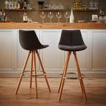 Barová Židle Nelo - šedá/barvy buku, Moderní, kov/dřevo (42/100/33cm) - Mömax modern living