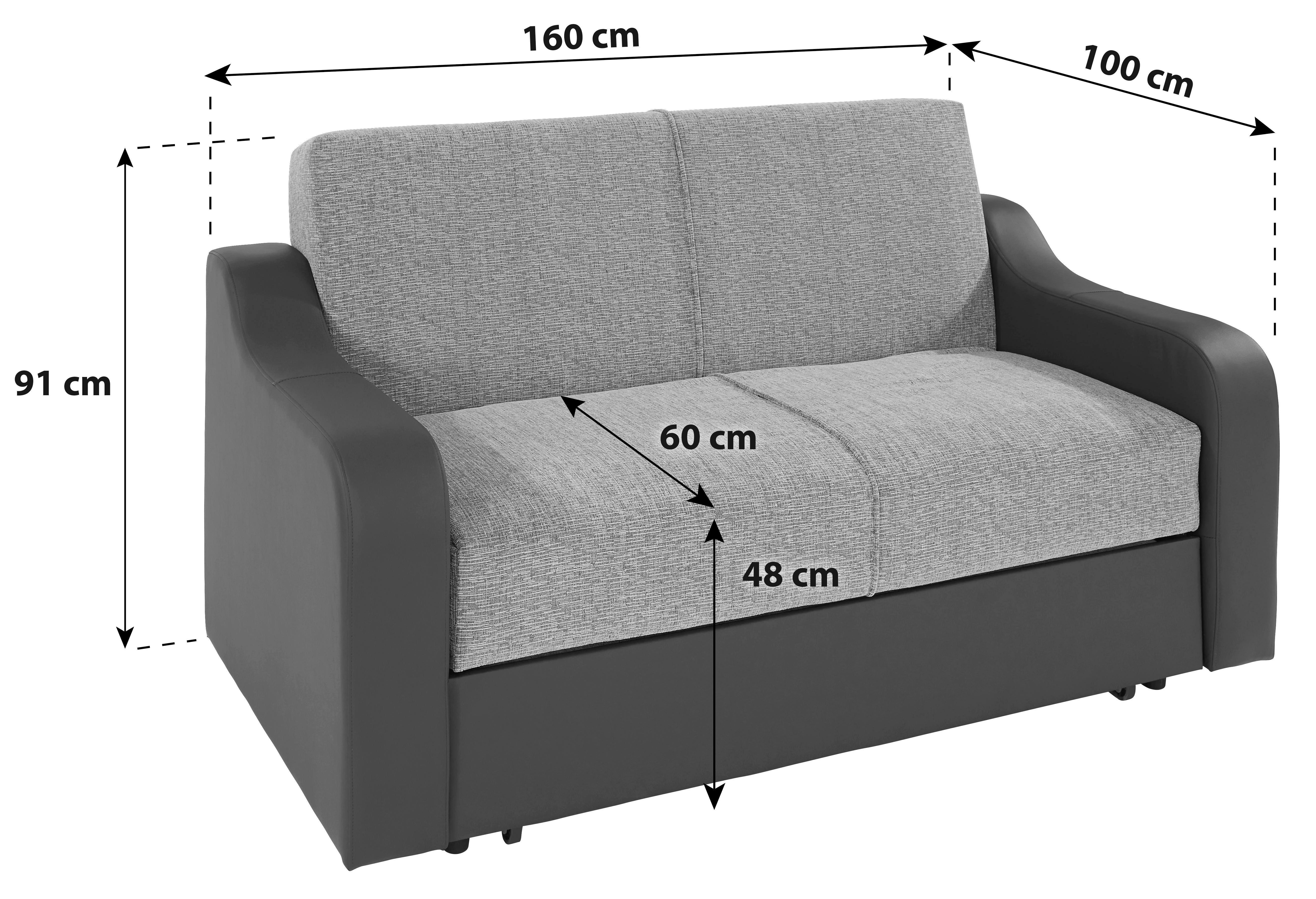 Pohovka S Rozkladom Max - sivá, Konvenčný, umelá hmota/kov (160/75/100cm)